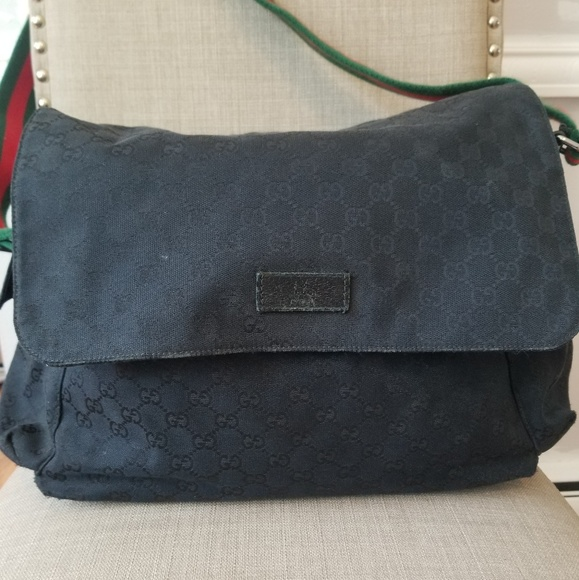 8dbc9c1d133b26 Gucci Bags | Black Canvas Diaper Bag | Poshmark